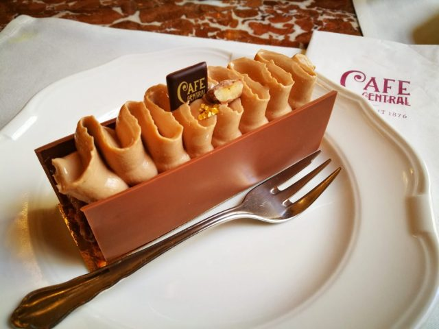 An incredible chocolate & hazlenut creation at Cafe Central - What to eat in Vienna - must eat in Vienna