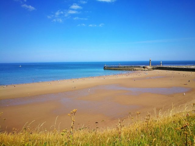 Whitby Beach - The Beach is right in front of the Riviera Guesthouse in Whitby