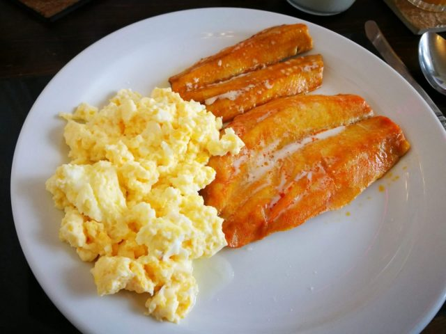 Smoked Kippers and Scrambled Eggs - Breakfast at the Riviera Guesthouse in Whitby