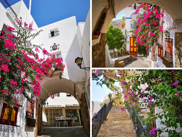 Beautiful Mojacar Pueblo - White Buildings and Colourful Flowers Everywhere