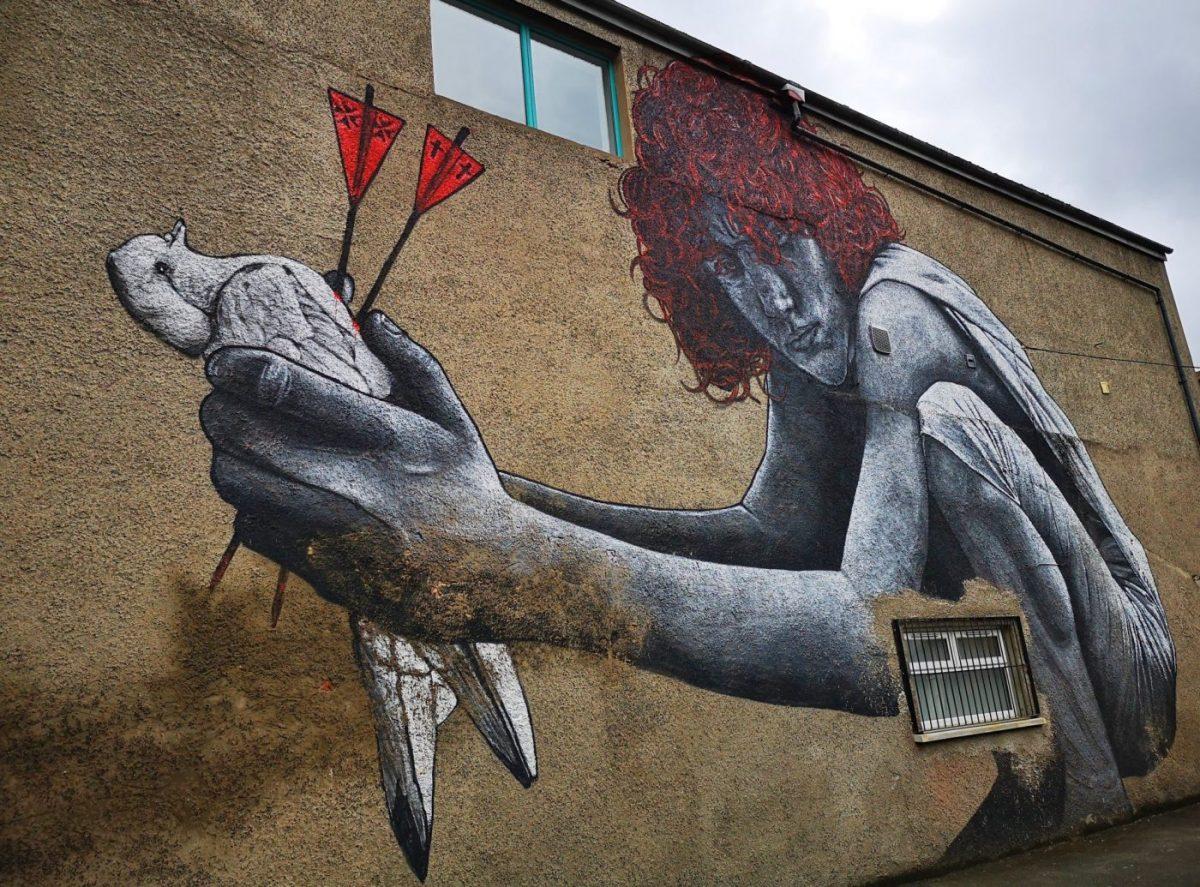 Belfast Street Art - Holding a Dead Peace Dove