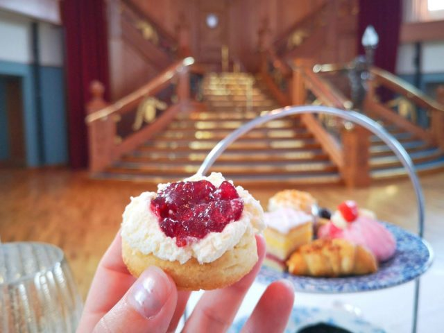 Afternoon Tea scone with jam and clotted cream at the Titanic Belfast