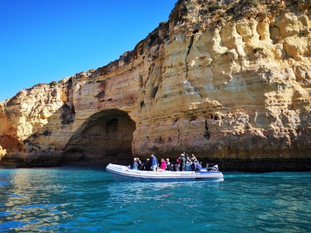 A RIB Speedboat on a Benagil Caves Tour - The Best Benagil Cave Tour to visit the Benagil Caves Portugal