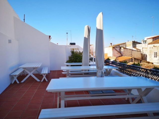 The outdoor Terrace Area at the Heaven Inn Hostel Evora