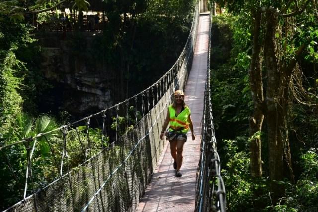 The swinging bridge in the Maya village