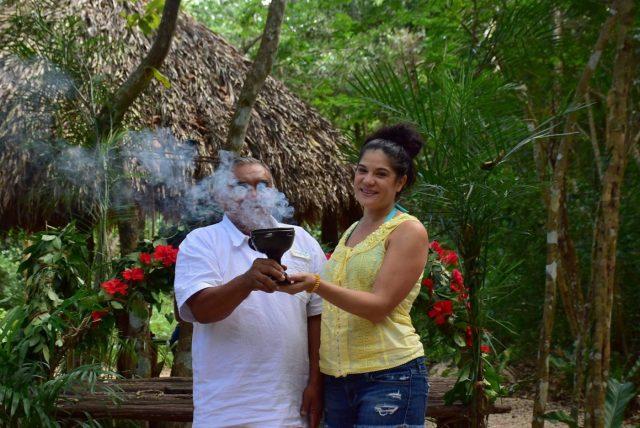 The Maya Holy Shaman blesses each person individually