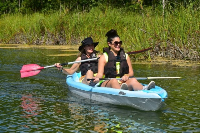 Canoeing on the water is part of the excursion from Cancun