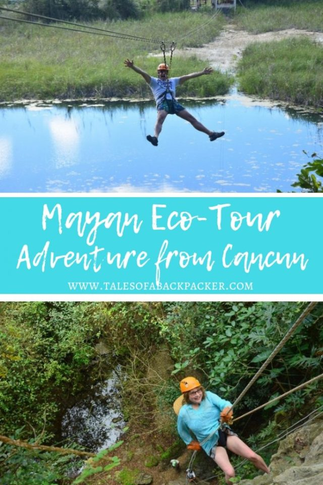 This eco-tour brings tradition, custom, and adventure together for an an all-day Cancun excursion to an authentic Maya village near Coba.  Experience adventures like zip lining, canoeing, swimming in a cavern (cenote), rappelling, and learn more about the Maya culture by attending a Maya blessing ceremony and exploring the ancient Coba ruins in the lush jungle park. #Mexico #Cancun #Coba #Maya #EcoTour #Excursion #Adventure