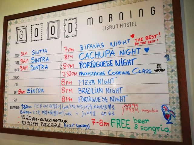 Daily Events Board at the Good Morning Hostel Lisbon - The Best Hostel in Lisbon for Solo Travellers