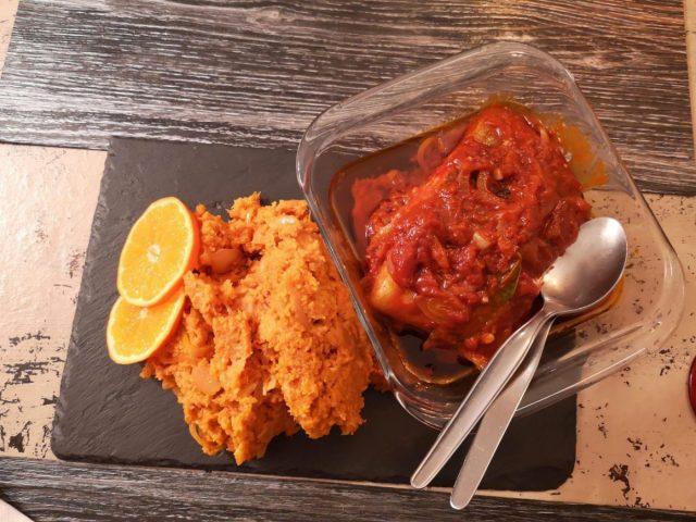 My Cod & Migas at Restaurante Migas in Evora Portugal