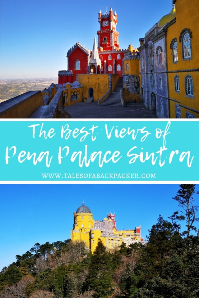 El Palacio da Pena is the most famous castle in Sintra, and the one you'll see on all the Portugal guide book photos.  The brightly coloured red and yellow towers are visible from all around Sintra, as this castle is high on the hillside and the gardens include the highest point in Sintra.  The castle is a dream for Instagram fans and photographers, so take your time to explore the terraces and gardens of Pena Park to find the best views of Pena Palace, you won't regret it – and you don't even need to pay full price for the Pena Palace tickets!  Here are all my tips for visiting Pena Palace and Gardens. #Portugal #Sintra #PenaPalace #Photography #Castle #europe