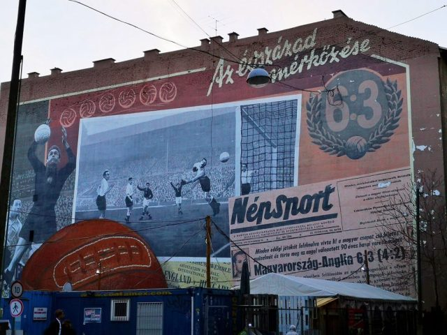 A mural dedicated to Hungary's most famous football player Ferenc Puskás and their win over England