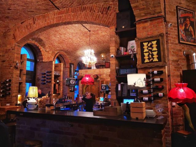Inside one of the cool wine bars we visited