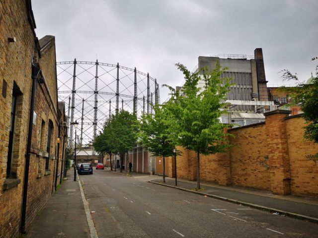 The Oval Gasholders next to the Beefeater Gin Distillery London