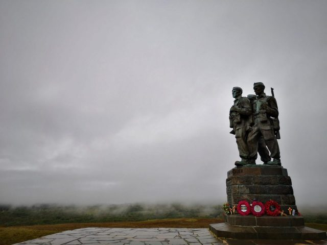 The Commando Memorial statue surrounded by clouds