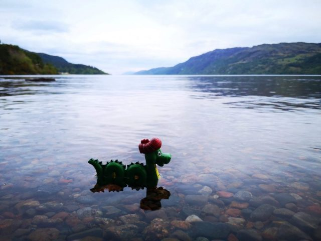 Nessie toy in the waters of Loch Ness