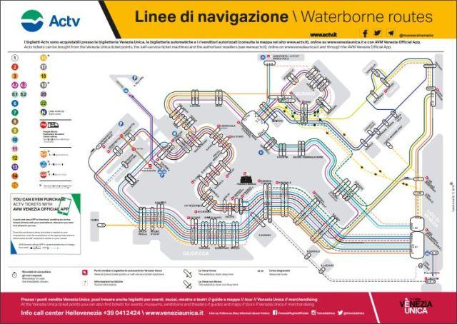 ACTV Venice Vaporetto Route Map