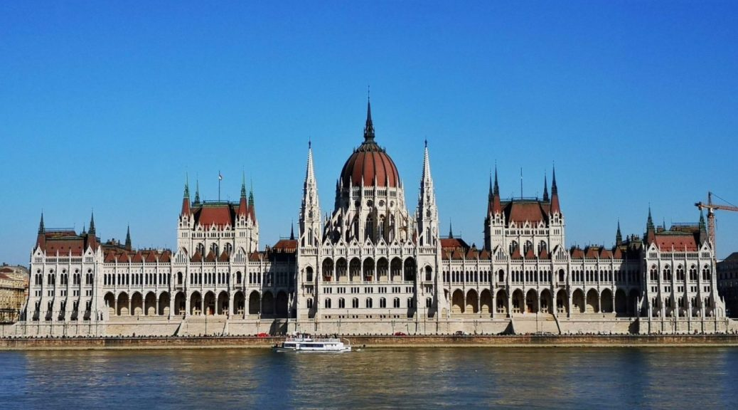 The Budapest Parliament Building from Across the Danube River