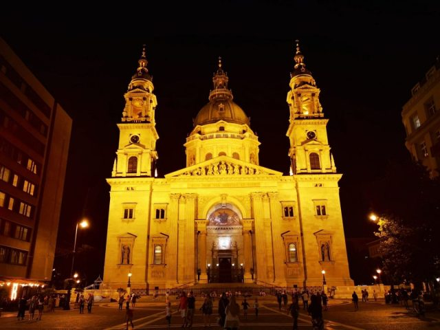 St Stephen's Basilica in Budapest is lit up at Nightv