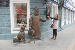 fooling around with the statues