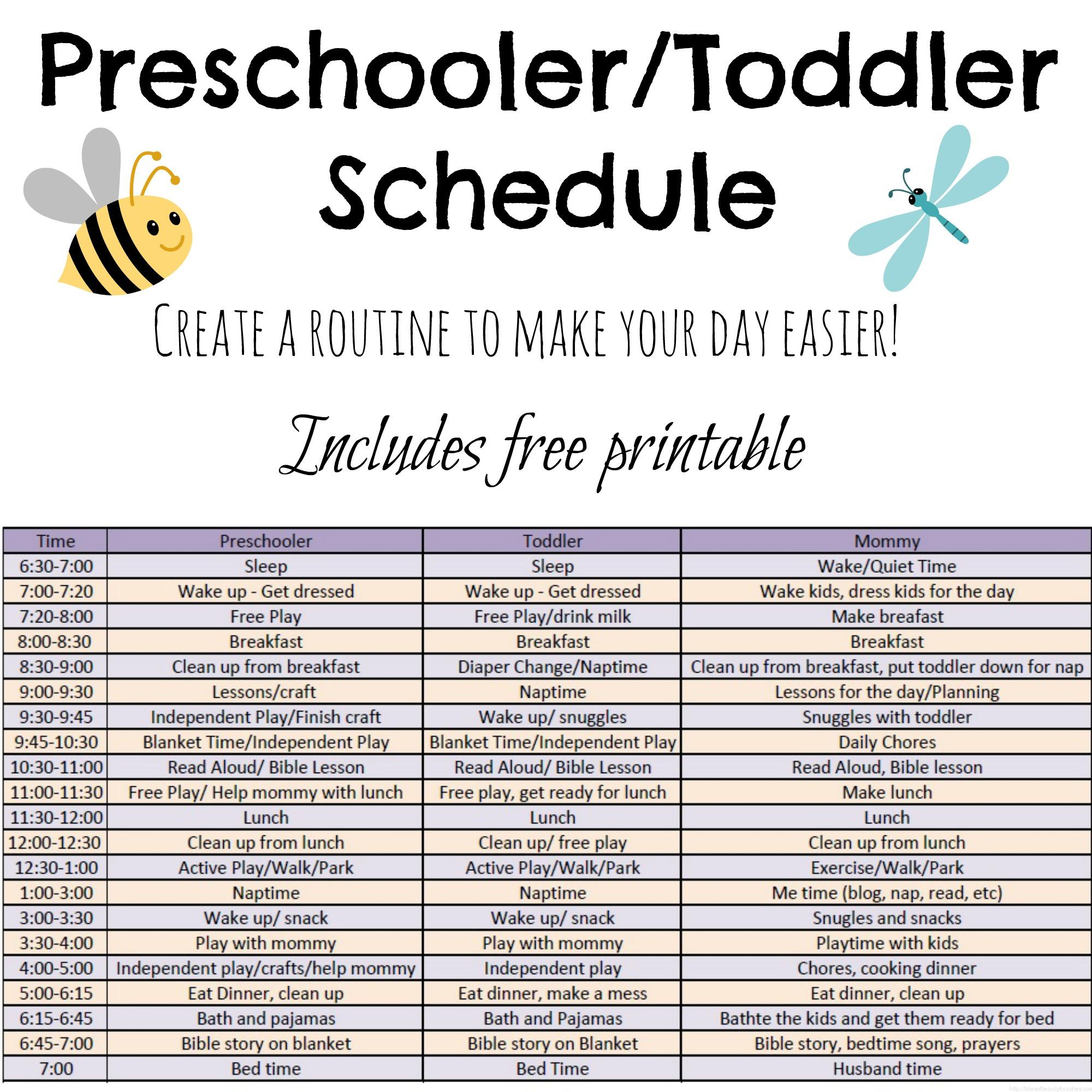 Toddler and preschooler daily schedule tales of beauty for Baby routine template