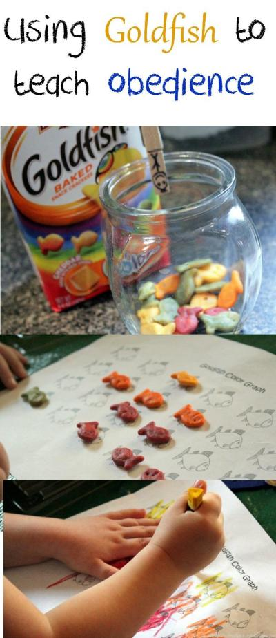 Teaching obedience using goldfish crackers is a fun way to help your kids remember to obey!