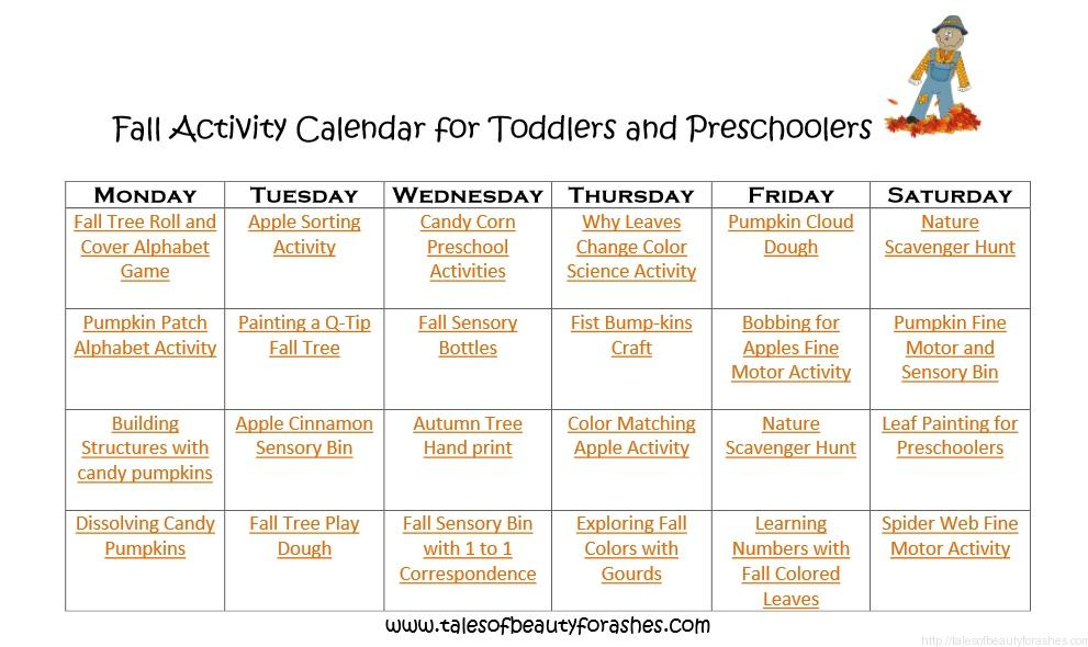 Fall activity calendar for preschoolers and toddlers - Tales of ...