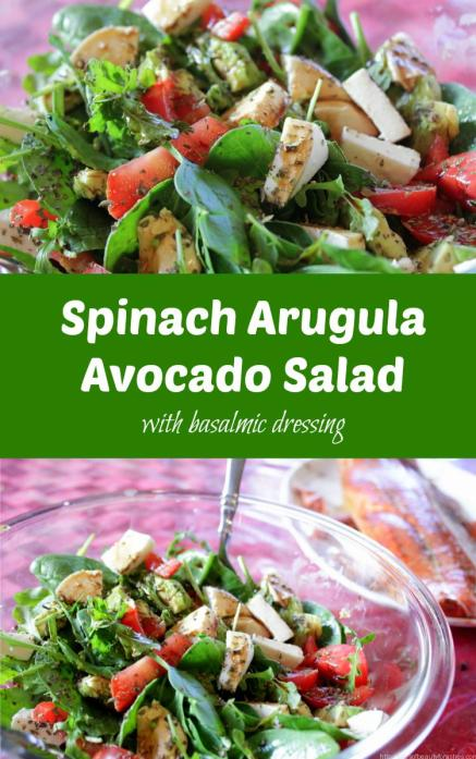 Spinach Arugula Avocado Salad is super simple and so tasty. This is a crowd pleaser, and yet takes almost no time to prepare!