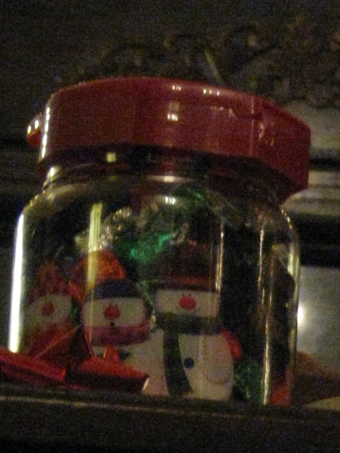 candy jar! (I had 2 mini peanut butter cups, mmmm).
