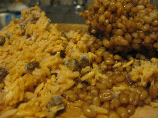 Dominican rice (left) and pearled barley (right)