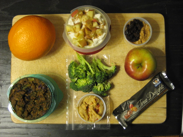 giant orange for mid-morning snack, date + kale curry for lunch, greek yogurt with apples/bananas/cinnamon/ginger for lunch dessert, broccoli trees with roasted red pepper hummus for afternoon snack, apple with a tbsp each of pb and raisins for evening snack/dinner in class, Quaker True Delights bar for evening snack/dinner dessert in class