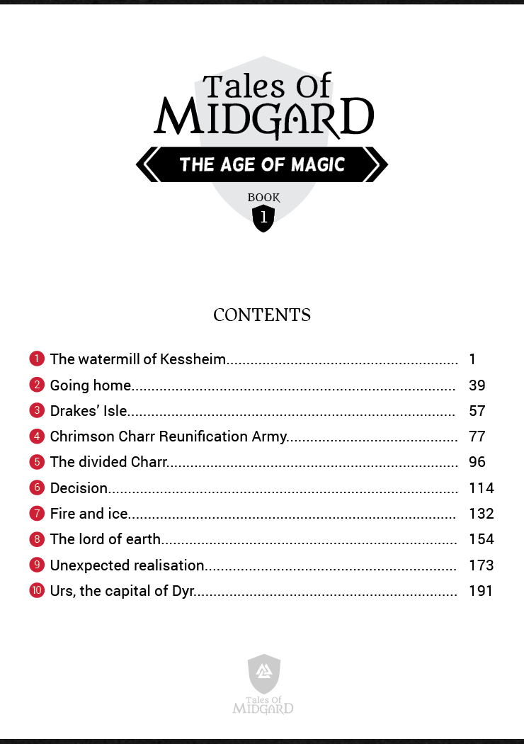 Tales of Midgard - The Age of Magic - Book 1 Contents