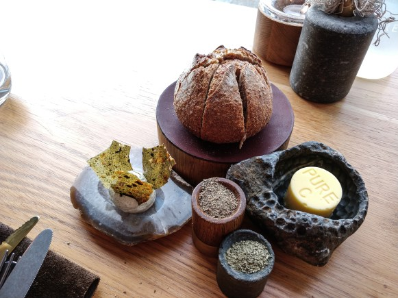 Whole wheat bread with seaweed butter @ restaurant Pure-C