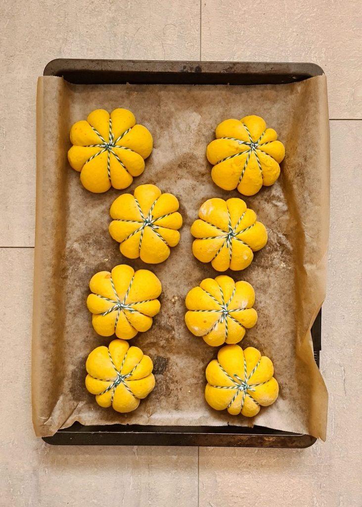 Pumpkin shaped Pumpkin Buns risen dough