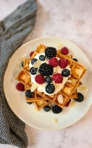 Greek yogurt breakfast waffles