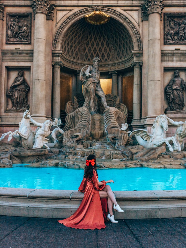 Trevi Fountain Vegas with woman sitting there