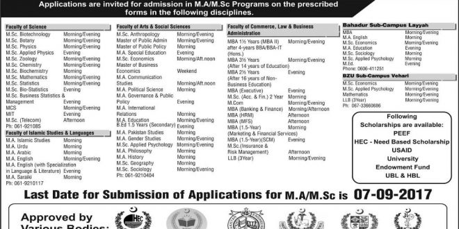 Bahauddin Zakariya University BZU Admissions Fall 2017