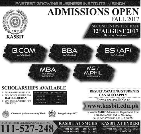 KASBIT University Admission 2017 CA, ACCA, BCOM, BBA, MBA Form
