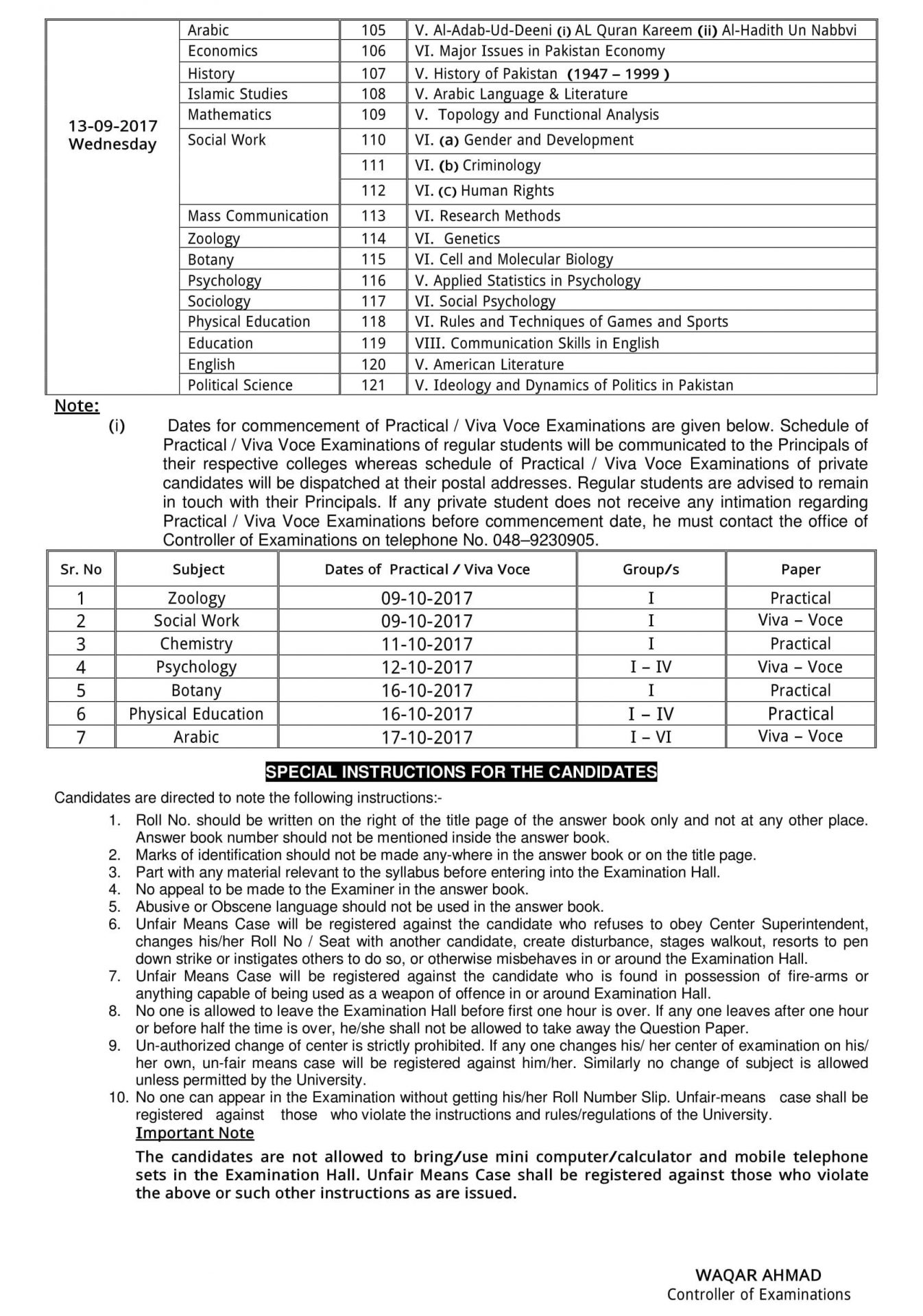Sargodha University MA / MSC Part 1, 2 Date Sheet 2018