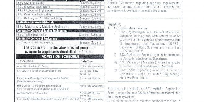 BZU Multan Admission 2018 Undergraduate Download Admission