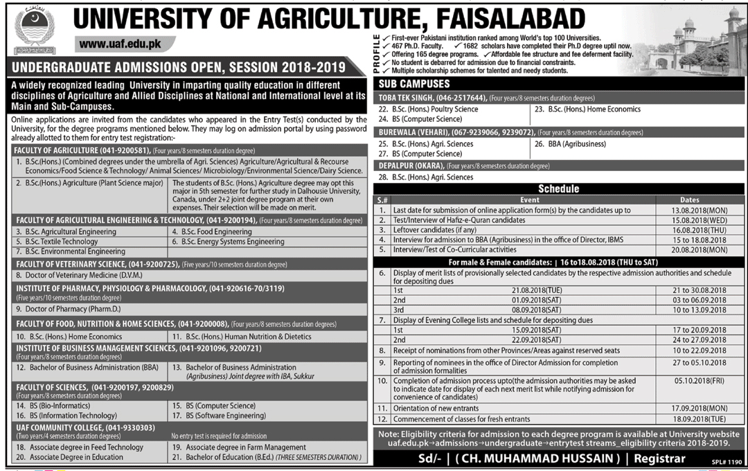 University Of Agriculture Faisalabad Uaf Admission 2018