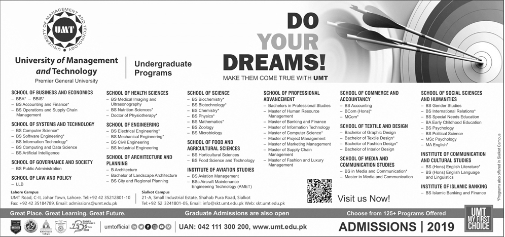 UMT Lahore Fall Admissions 2019 Form Last Date
