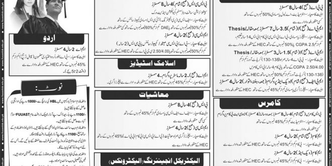 FUUAST Admission 2019 Online Form Last Date