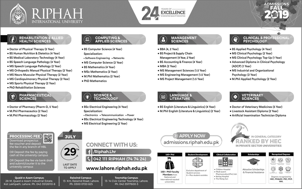 Riphah International University Lahore Admissions Fall 2019