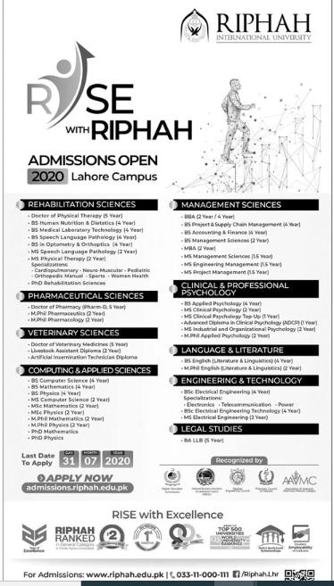 Riphah International University Lahore Admissions Fall 2020