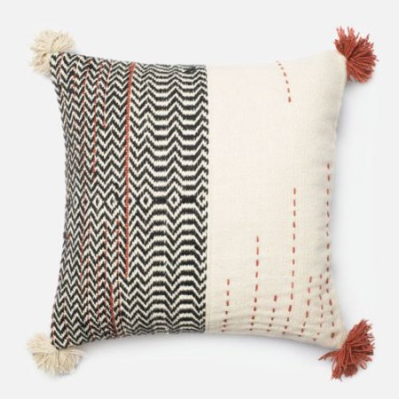 """Ivory/Black/Rust Pillow  - 22"""" Square, with Insert $60 (plus shipping and tax)"""