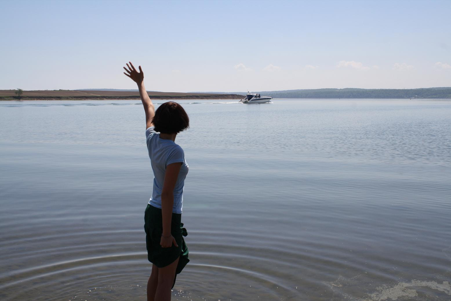 me trying to hitchhike a boat on Angara River