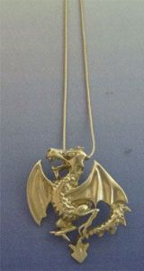 dragon heraldic silver pendant