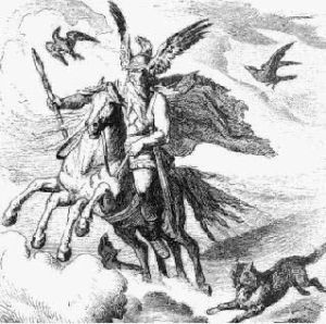 Odin with falcons and other birds