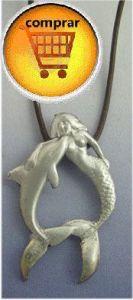 mermaid and delphin silver pendant
